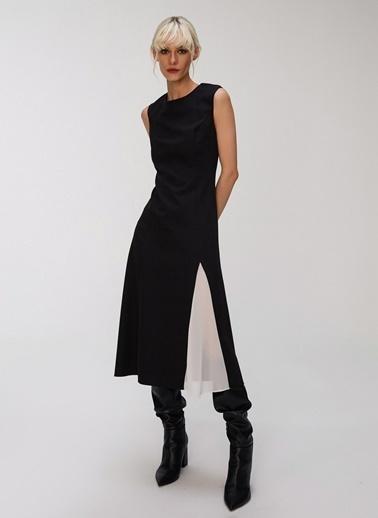 People By Fabrika Kontrast Detaylı Elbise Siyah